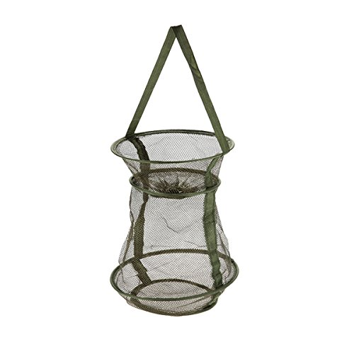 Outamateur Bottle-Shaped Collapsible Mesh Fishing Cage/Fishing NetPortable and Durable,Perfect for Keeping Fishes/Smelt/Minnows/Crab/Shrimps/Lobsters(Green) (10' x 15.7')