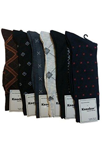 Knocker Men's Assorted 6 Pack Designed Dress Socks Size 10-13