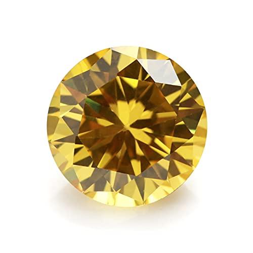 YSTSPYH Piedras Preciosas 5 mm 6 mm 8 mm (3~16 mm) AAAAA Redonda Naranja, Negro, Oliva, Púrpura, Rosa, Piedra Cubica Amarilla Zirconia Flojo (Color : Golden Yellow, Item Diameter : 3mm (50pcs))