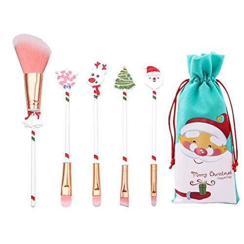 Amosfun 6pcs pinceau de maquillage de Noël mis en poudre pour le visage poudre blush fondation pinceaux fard à paupières avec pinceau cosmétique avec sacs de rangement pour cadeau de noël (blanc)