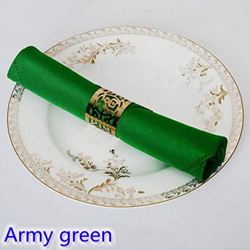 Fijnere 23 Kleuren Servet effen polyester servet voor bruiloft hotel en restaurant tafeldecoratie rimpel vlekbestendig, LEGER GROEN