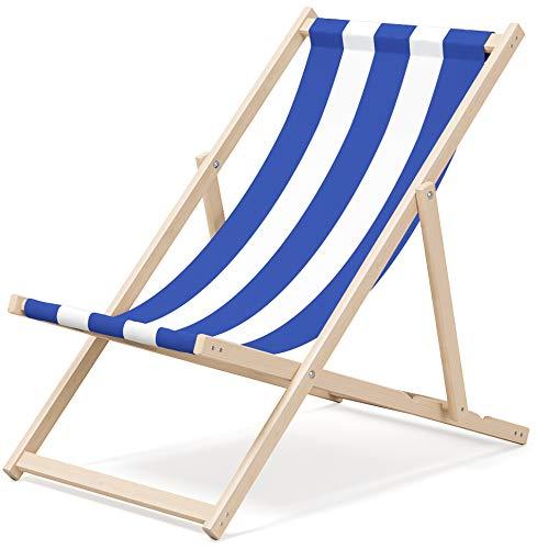 NOVAMAT Gartenliege aus Holz Klappbar Liegestuhl Relaxliege Strandstuhl Klappliegestuhl (Streifen - Blau)