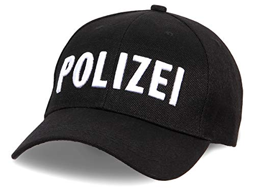 Alsino Unisex Baseball Cap Polizei Motiv Bestickt verstellbar aus Baumwolle, schwarz
