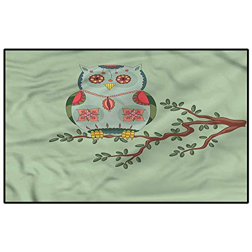 Cute Soft Indoor Large Modern Area Rugs Owl Figure on a Tree Branch Dining Room Home Bedroom Carpet Floor Mat Modern Home Decoration 4 x 5 Ft
