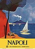 Vintage Travel Italien für Napoli Retro von Mario Puppo, 250 gsm, Hochglanz, A3, vervielfältigtes Poster