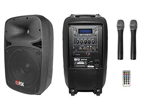 SPP-10 draagbaar PA-systeem (400 W, USB, Bluetooth, 2 draadloze VHF-microfoons).