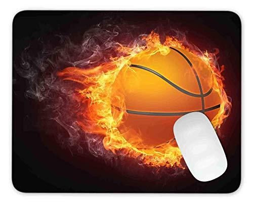 Timingandweng Alfombrilla de ratón de Baloncesto ardiente Alfombrilla de ratón para Juegos Alfombrilla de ratón Respaldo de Goma Antideslizante