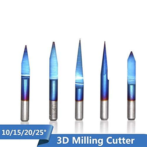 SHENYUAN PCB 3D Milling Cutter 3.175 Shank Blue Coating Tungsten Carbide V Shape PCB Engraving Bit 10/15/20/25 Degree CNC Router Bit (Size : 10PCS degree15X0.1mm)