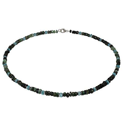 Edelstein Collier Smaragd fac, Apatit, 925oo Silber Schloß, ca. 43 cm