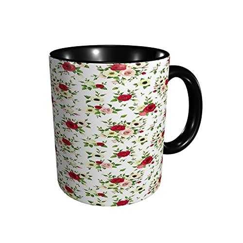 Taza de café colorida romántica flor de rosa taza de té tamaño 12 oz tazas de café de cerámica para restaurante café oficina hogar