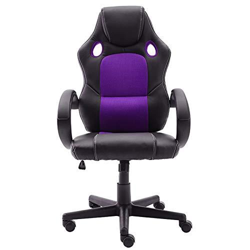 STmeng - Sedia da Ufficio Girevole, ergonomica, con braccioli, Girevole e Regolabile (Viola)