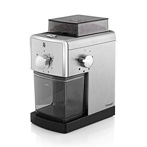 WMF Stelio Kaffeemühle Edition, Scheibenmahlwerk aus Stahl, 17-stufiger Mahlgrad, 2-10 Tassen, ideal für Filterkaffee oder French Press, 110 Watt