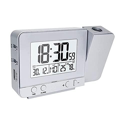 SFLRW Reloj de alarma de proyección digital Reloj de alarma regulable con higrómetro de temperatura interior, USB Cargador, LCD Mostrar relojes de alarma dual para dormitorios en la pared de techo, DC