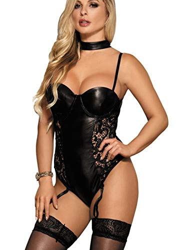 marysgift Damen Wetlook Straps Body String Teddy Spitze Neckholder Choker Schwarz Corsagen Kleid Dessous XL 40 42