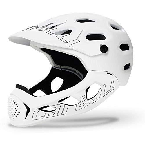 EDCV Fahrradhelm Gesicht Fahrradhelm für Männer Voll überdachtes Radfahren Downhill BMX Balance Skating Sport Schutzhelme Erwachsene, weiß, M 54-58 cm