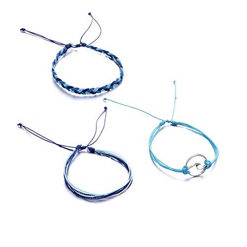 Damen Armband 3PCS blau Wrap Armbänder Schmuck Set, Welle Armkette Verstellbar Charm Multilayer Böhmen Armband