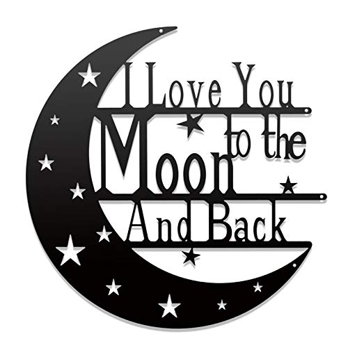 Cleaky I Love You To The Moon And Back Wall Decor Art Sign Love Quote Monogrammed Gift For Anniversary Valentine's day Home Bedroom Decor Wall Hanging Metal Laser Sign 15'' Black