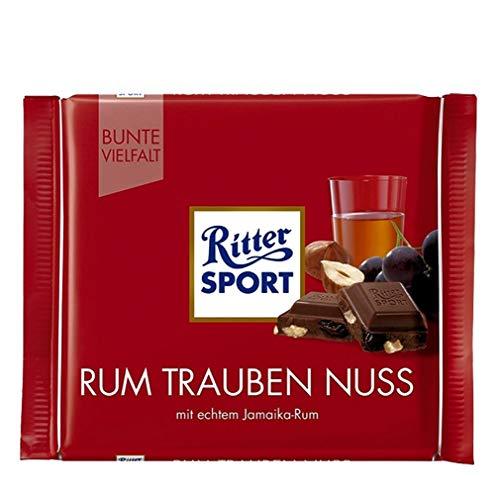 Ritter Sport - Leche de chocolate con pasas, frutos secos y ron, 100 g, paquete de 2