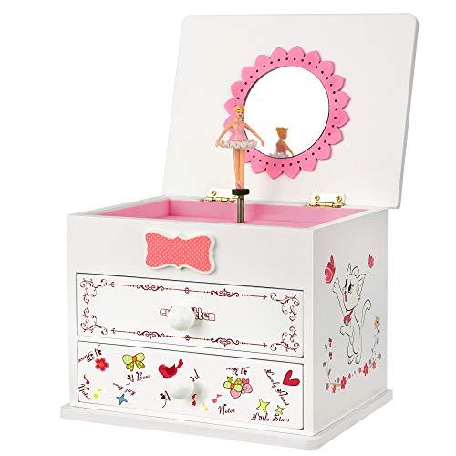 SONGMICS Spieldose, Schmuckkästchen, 15 x 11.5 x 12.3 cm