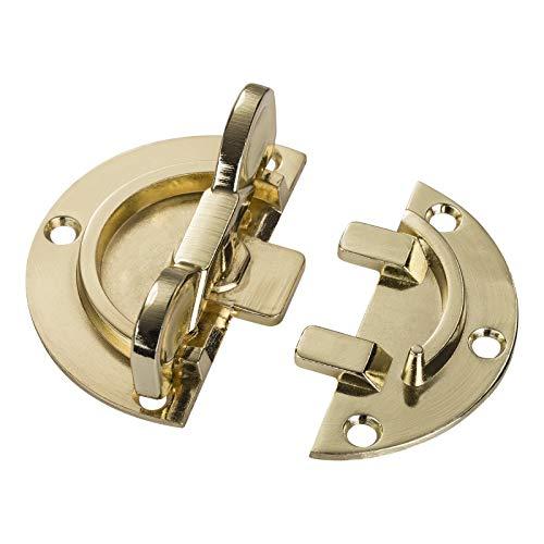 4 Stück Drehriegel Ø 61 mm, Stahl vermessingt, Dreh-Verriegelung, Tischbeschlag Möbelriegel zum Anschrauben Tischverbinder von SO-TECH®