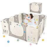 Dripex Baby Playpen, Foldable Play Fence for Babies, 14 Panels Kid's Plastic Safety Activity Center with Lock Door, Play Yard Indoor and Outdoor