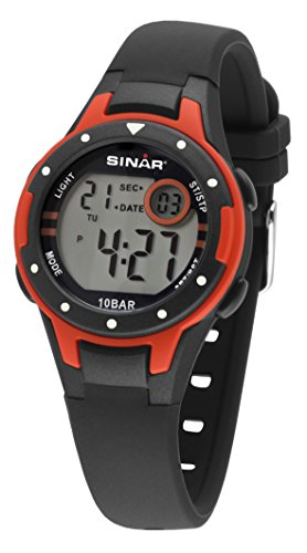 SINAR Jungen-Armbanduhr schwarz rot Sportuhr outdoor 10 bar wasserdicht Licht digital XE-52-4