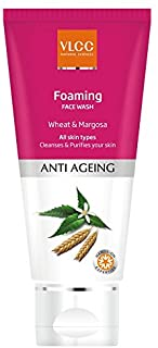 Vlcc Foaming Face Wash Wheat and Margosa, Anti Agening All Skin Type,Cleanses & Purifies Skin 100ml