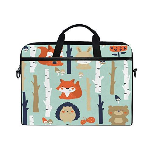 Linomo Computer Bag Cute Fox Squirrel Hedgehog Rabbit Bear Laptop Sleeve Case Briefcase Messenger Sleeve Laptop Shoulder Bag fits 13 Inch 14 Inch 14.5 Inch Laptop for Women Men Office Kids School