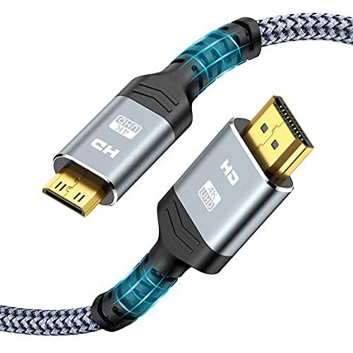 Mini HDMI auf HDMI Kabel 1,8 m - 4K@60Hz 18Gbps Snowkids Mini HDMI zu HDMI Adapter 2K@120Hz, Unterstützt Ethernet, 3D, HDR,ARC, Nylon Geflechten Kabel für Kamera, Laptop, TV, Monitor,Grau