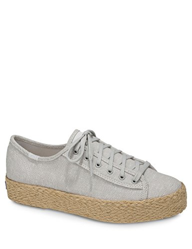 Keds Women's Triple Kick Jute Light Espadrilles Grey in Size 42.5