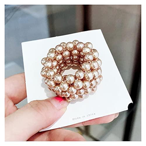 Cuerda de pelo Perlas perlas corbatas de pelo bandas elásticas para el cabello para las mujeres cuerda de cabello scrunchies de cola de caballo accesorios de cabello de goma ( Color : Pearl kaki )