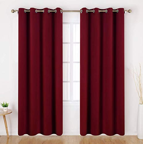HOMEIDEAS Blackout Curtains 52 X 84 Inch Long Set of 2 Panels Burgundy Red Room Darkening Bedroom Curtains, Thermal Grommet Light Bolcking Window Curtains for Living Room