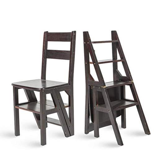 NYDZDM Huishoudelijke multifunctionele ladderkruk massief hout IKEA kinderen opvouwbare stoel dual-use viertraps ladder oplopende ladder 38×39×60cm