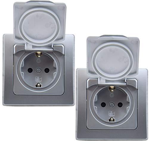 Delphi - Enchufe con protección de contacto IP44 con tapa abatible, enchufe empotrado con junta, montaje interior y exterior, 2 unidades, 250 V, color plateado
