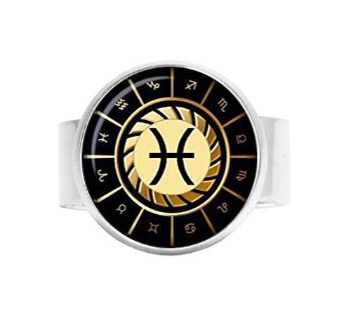 Qws Piscis Anillo ajustable, anillo Piscis, joyería de signo del zodiaco, anillo ajustable, joyería de constelación, regalo para hombres y mujeres