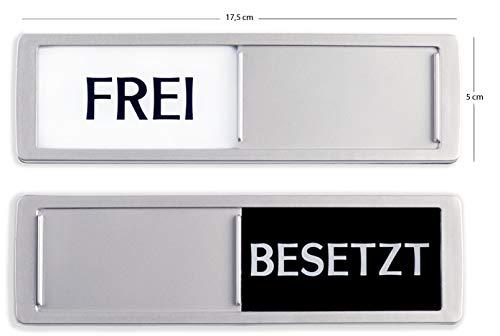 Promessa-Design FREI - BESETZT Schilder XL - Mit Schieber - Frei Besetzt Schiebeschild - Klebeschild - 17,5 x 5 x 0,7 cm - Montage: 3M Klebefläche - Schilder mit Schiebefunktion.