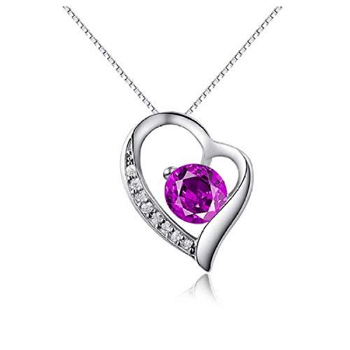 N/C Collar de Plata Colgante de corazón de circón Blanco púrpura Simple Collar para Novia de Boda 925 joyería Personalizada de Collar de Plata esterlina