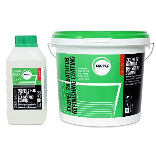 Ekopel 2k. Pintura Para Bañeras Esmalte Blanco, Inodoro, Nueva tecnología, Solo una capa, 3400 kg