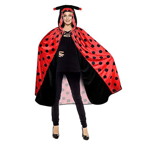 Riclahor Marienkäfer Kostüm Damen, Damen Kostüm, Fasching kostüm, Marienkäfer Kostüm als Umhang, Marienkäfer Kostüm Kinder, Einheits-Größe für alle Faschings-Karnevals Kostüm Damen und Jungen
