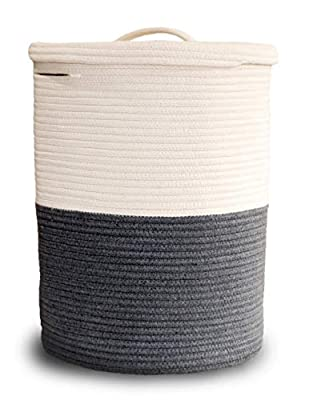 Large Laundry Basket with Lid, Tall Laundry Hamper with Lid, Woven Storage Basket Decorative Cotton Basket for Blankets Clothes Toys Pillows Towels Baby Nursery Bathroom Living Room Kitchen, Gray & White