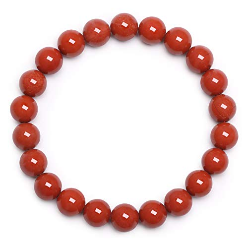 Damen Armband Edelstein Armband Perlenarmband 8mm Roter Jaspis Armband Rundes Perlenarmband Rotes Edelstein Perlen Armband echtes Unisex Stein Armband Valentinstag Liebhaber