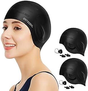 Gshy Bonnet de Natation en Silicone pour Cheveux Longs Courts Chapeau de Bain Imperm/éable Capuchon Unisexe aux Hommes Femmes Adultes pour Nager Plong/ée Piscine