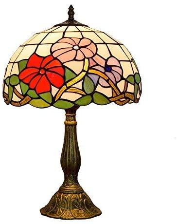 AWCVB Lámpara De Mesa De 12 Pulgadas Tiffany Lámpara De Mesa De Cristal Gloria De Mañana Retro Lámpara De Mesa Única Ventanas Europeas Sala De Estar Creativa
