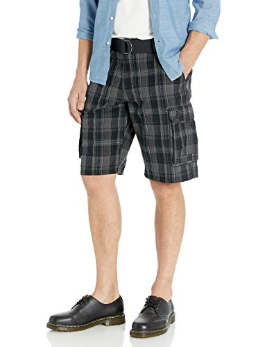 Lee Men's New Belted Wyoming Cargo Short, Black Clifton Plaid, 34