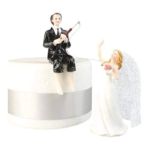 Zamishen Hochzeitstorte Topper Cupcake Cake NeEuropean Bräutigam Angeln Brautkuchen Dekoration Harz Puppe Malerei Malerei Handwerk kleines Geschenk Dekoration Party Food Dekoration