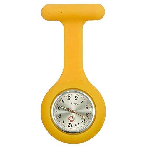 KJFB - Broche para reloj de enfermera de silicona con pin/clip que brilla en la oscuridad, cuidado de la salud, reloj de bolsillo para enfermera Sporter (color amarillo)