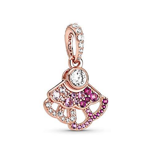 925 Plata Tía Abanico Rosa Abanico Colgante Encanto Moda Mujer Pandora Pulsera Brazalete Regalo Diy Joyería Regalo De Vacaciones Para Novia