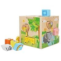 教育玩具ギフトビルディングブロックおもちゃ天然木木製ビルディングブロック赤ちゃん用(Cartoon intelligence box)