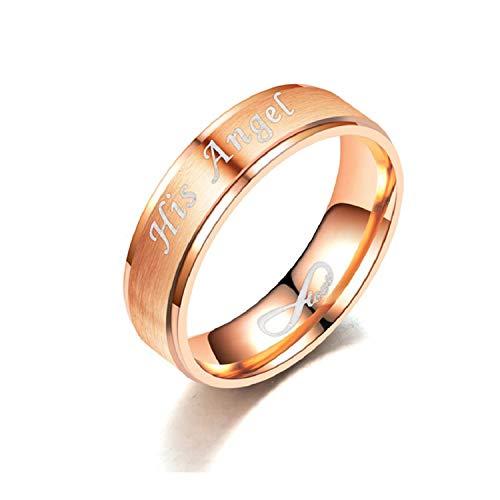 OIDEA Anello Donna Fidanzamento Matrimonio Nuziale Promessa Acciaio Inossidabile Infinito His Angel Oro Rosa