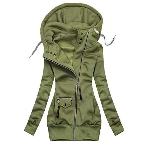 Janly Clearance Sale Abrigos de invierno para mujer, con cordn de costura slida, con capucha, chaqueta de moda, para exteriores, para mujer (verde-5XL)